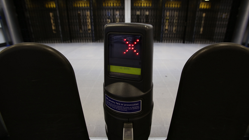 Image of a ticket barrier not permitting entry