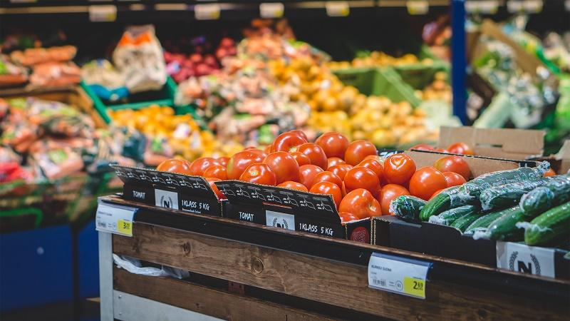 An image of fruit and veg in supermarket