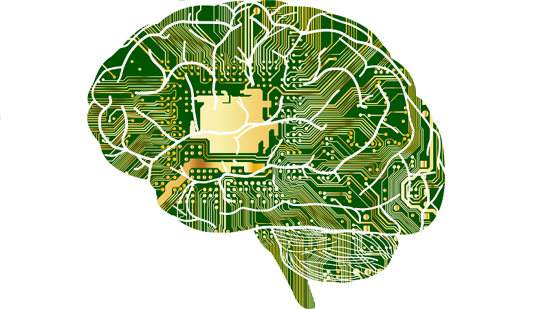 An image of a human brain overlaid with imagery of a circuit board