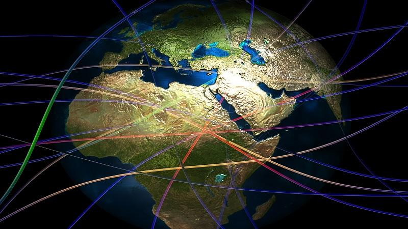 Image of a map of the world overlaid with connected lines
