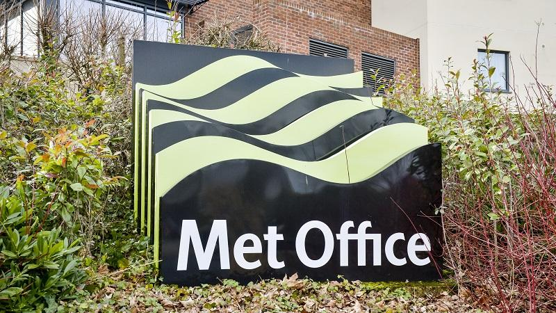 Image of the Met Office sign outside the organisation's headquarters in Exeter