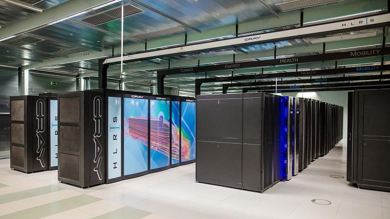 An image of part of the Hazel Hen Cray supercomputer at Stuttgart University