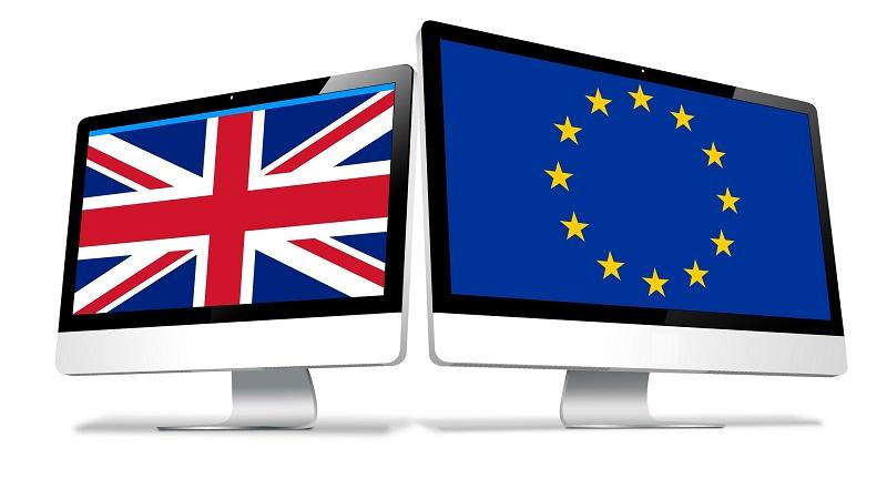 Illustrated image of two computer monitors, one showing the UK flag and the other displaying the EU flag