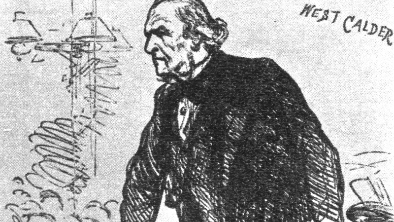 An artist's impression of Liberal leader William Ewart Gladstone giving a speech at West Calder, during the 1880 general election campaign