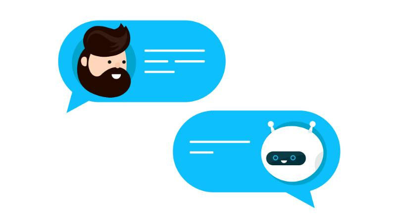 Cute smiling chat bot graphic