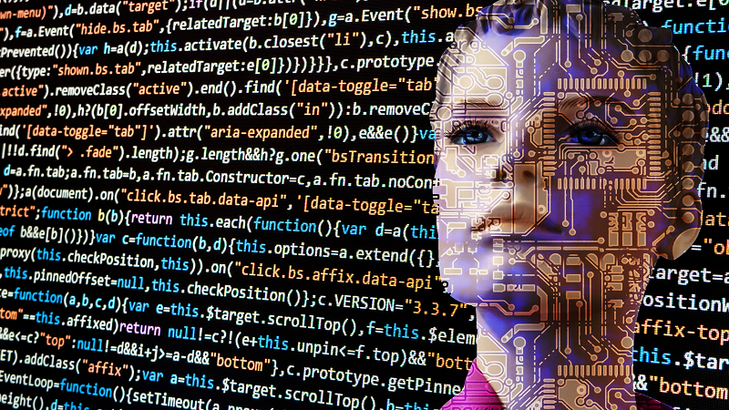 Image of a woman's face covered and surrounded by computer code text