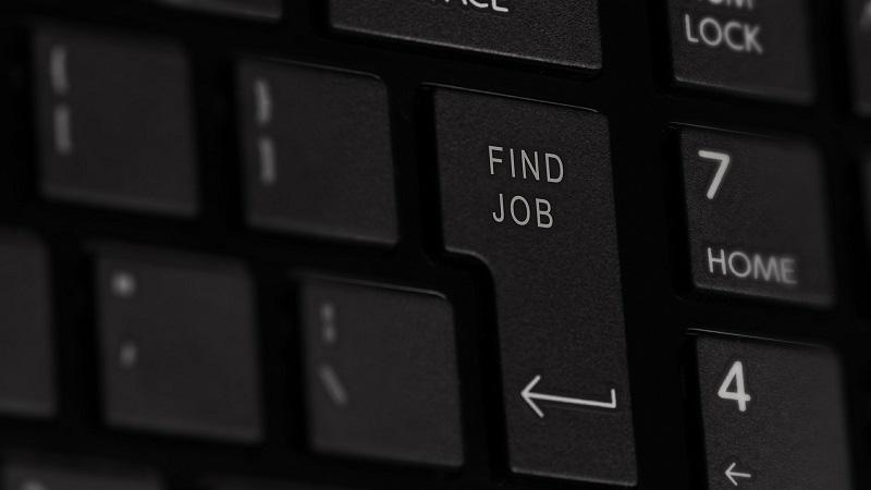 Image of what is usually the 'Enter' keyboard key displaying the text 'Find Job'