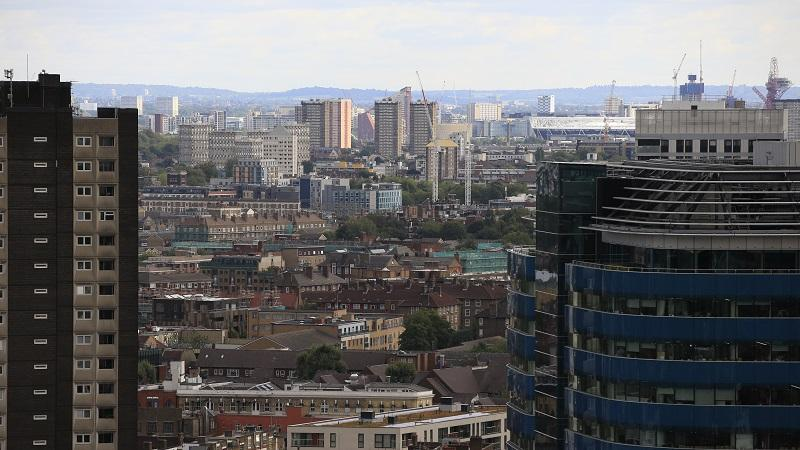 An image of the skyline of Stratford in east London