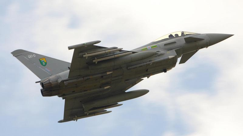 An image of an RAF Typhoon fighter jet