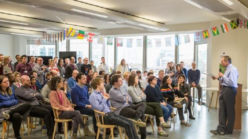 An image of the civil service chief executive John Manzoni addressing GDS staff at the organisation's headquarters in east London
