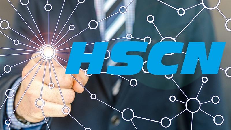 Image of a finger reaching out to touch a screen depicting network connections, next to the letters 'HSCN'