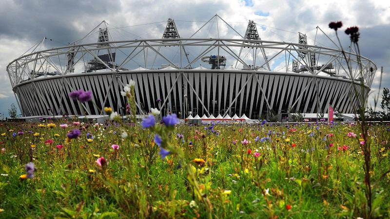 An image of the London Olympic Stadium in Stratford, with flowers in the foreground