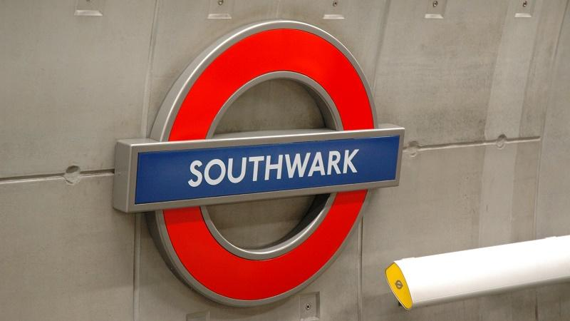 An image of a sign at Southwark tube station
