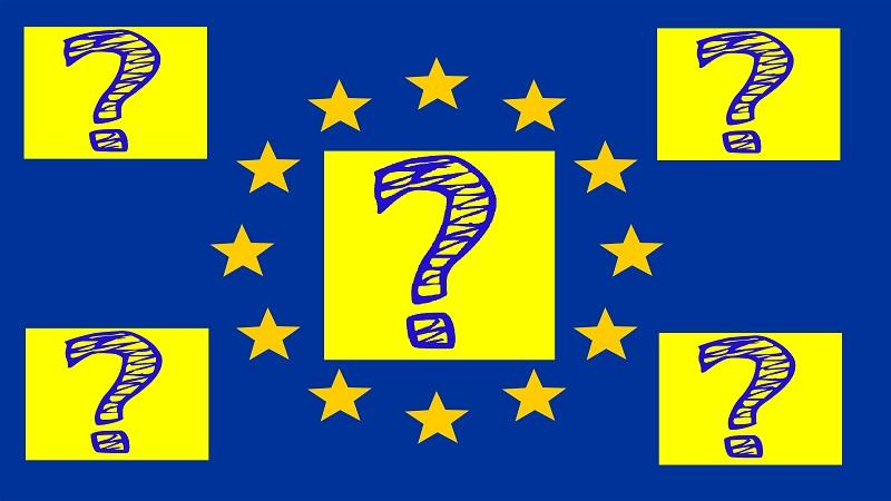 An image of the EU flag with five questions marks dotted around