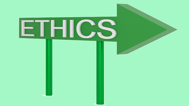 Image of a sign pointing the way to 'ethics'