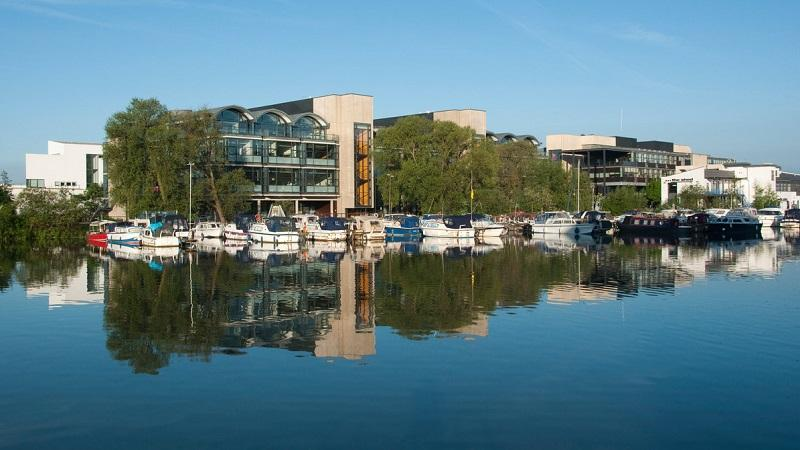 The University of Lincoln viewed from across Brayford Pool