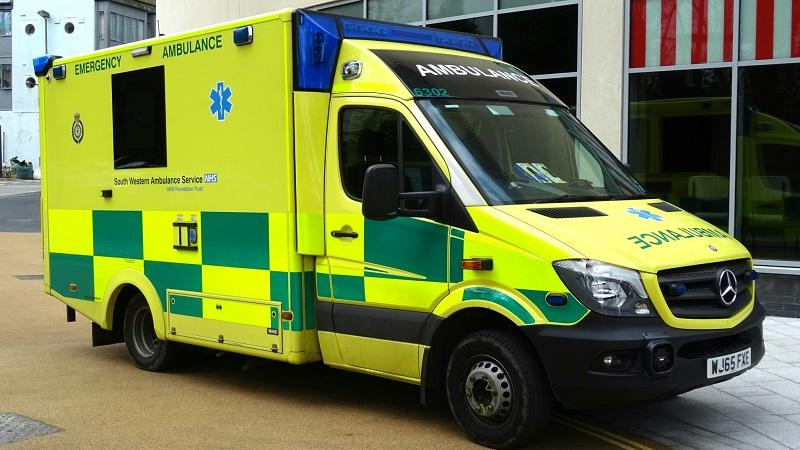 An image of a South Western Ambulance service vehicle parked outside a hospital