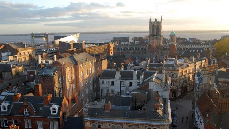 An image of the skyline of the city of Kingston upon Hull