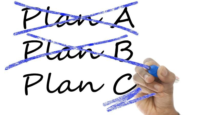 An image of 'plan A' and 'plan B' crossed out and 'plan C' underlined