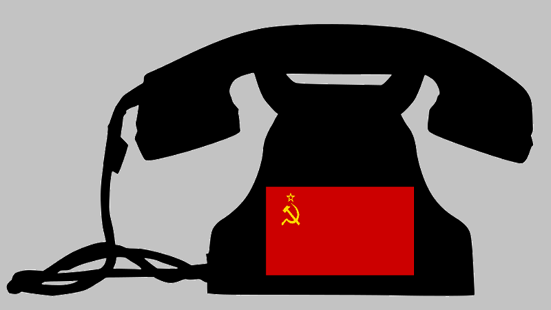 An illustration of an old-style phone with a Soviet flag on it