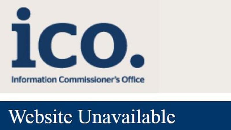 A cropped screengrab of the ICO website showing a 'website unavailable' message