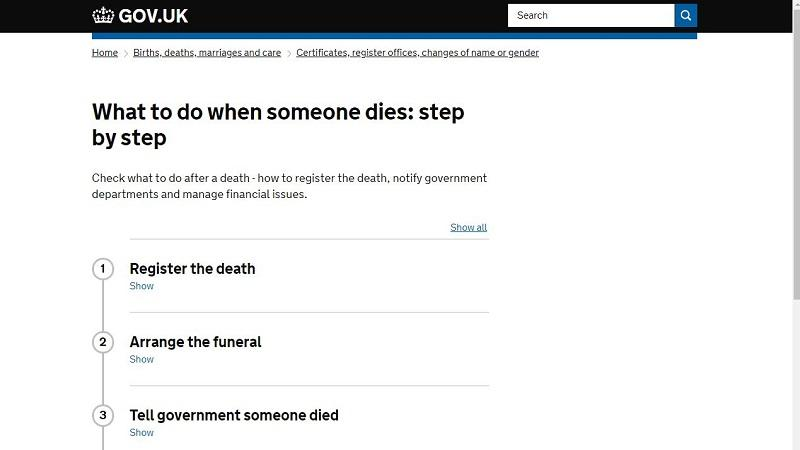 An image of the homepage of the 'What to do when someone dies' government site