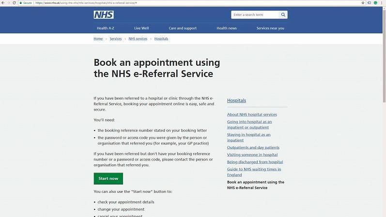 NHS e-referral screengrab