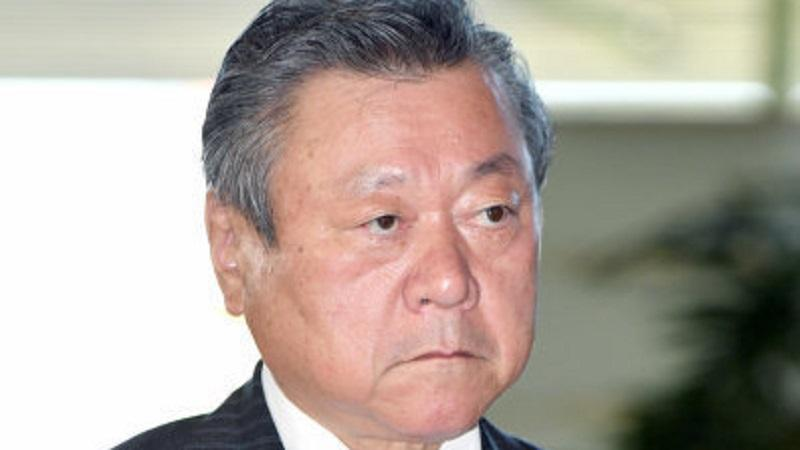 An image of the face of Yoshitaka Sakurada, the cybersecurity and Olympics minister of Japan