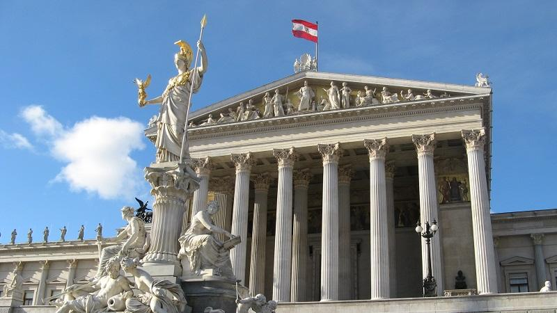 An image of the exterior of the Austrian Parliament building in Vienna