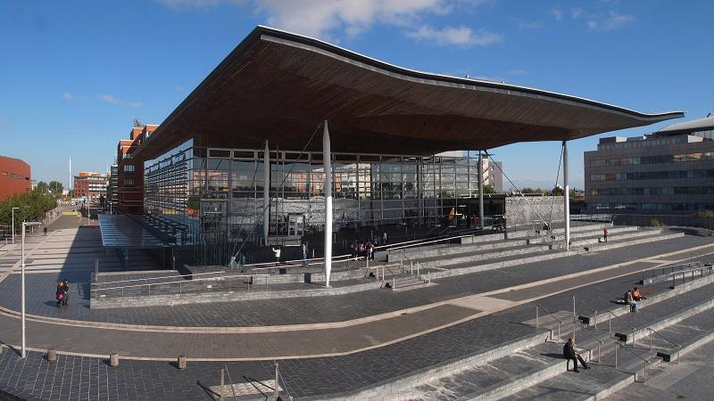 An image of the exterior of the Welsh Assembly building in Cardiff