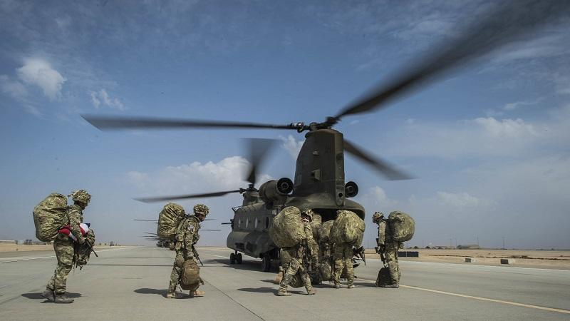 An image of British troops leave Camp Bastion in Afghanistan's Helmand province in 2014
