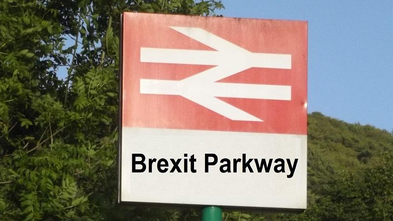 An image of a national rail train station sign bearing the name 'Brexit Parkway'