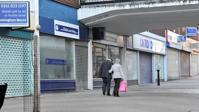 An image of George Street in Altrincham circa 2011, with numerous shops vacant