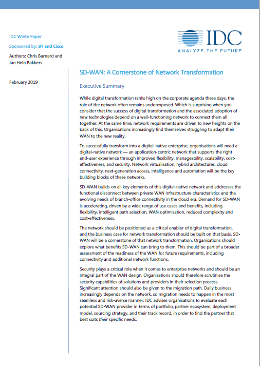 A picture of SD-WAN: A Cornerstone of Network Transformation