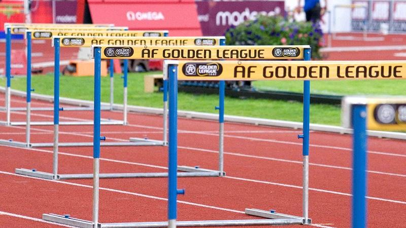A close-up image of hurdles on a running track