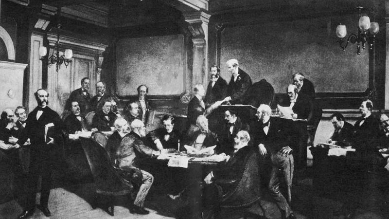 An illustration of the first signing of the first Geneva convention