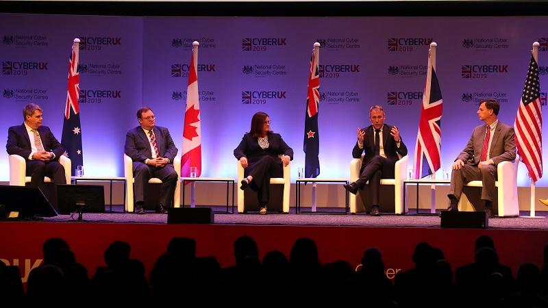An image of five representatives of the Five Eyes alliance on stage at the 2019 CyberUK event