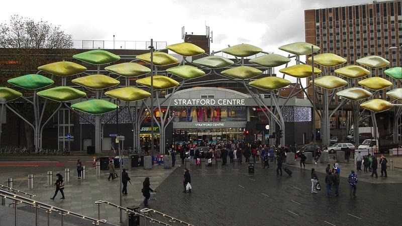 An image of the exterior of the Stratford Centre shopping precinct in east London