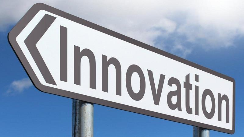 An image of a road sign pointing the way towards 'Innovation'