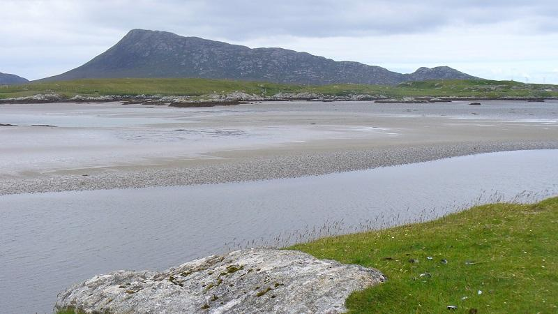 An image of sand flats on the island of Grimsay