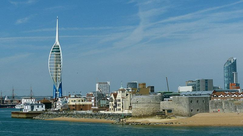 An image of Portsmouth waterfront, including the Spinnaker Tower on the left