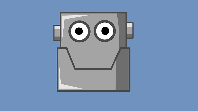 An illustration of a smiling robot on a blue background