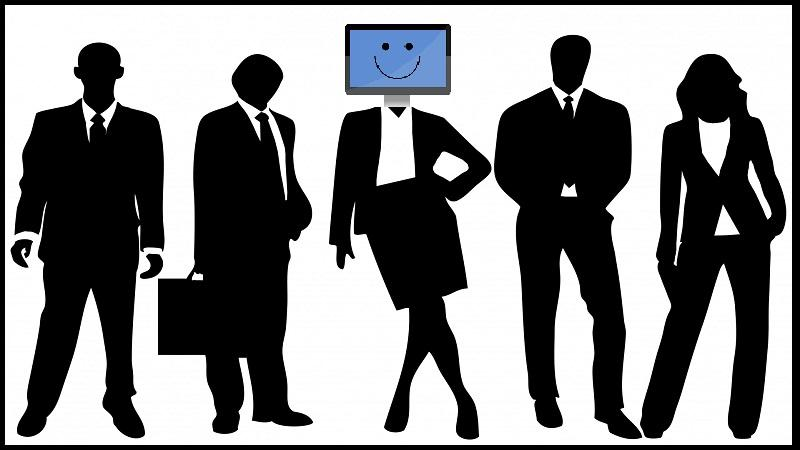 An illustration of five silhouetted businesspeople - the woman in the middle has a computer monitor for a head