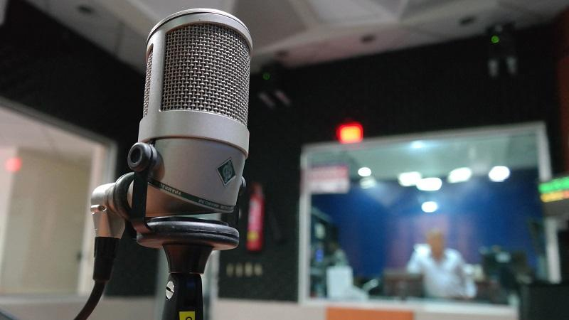 An image of a microphone in a studio