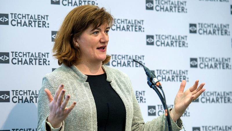 An image of Nicky Morgan speaking at a Tech Talent Charter event in January 2020