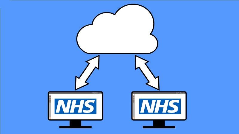 An illustration of two computer monitors bearing the NHS logo with arrows pointing towards a cloud
