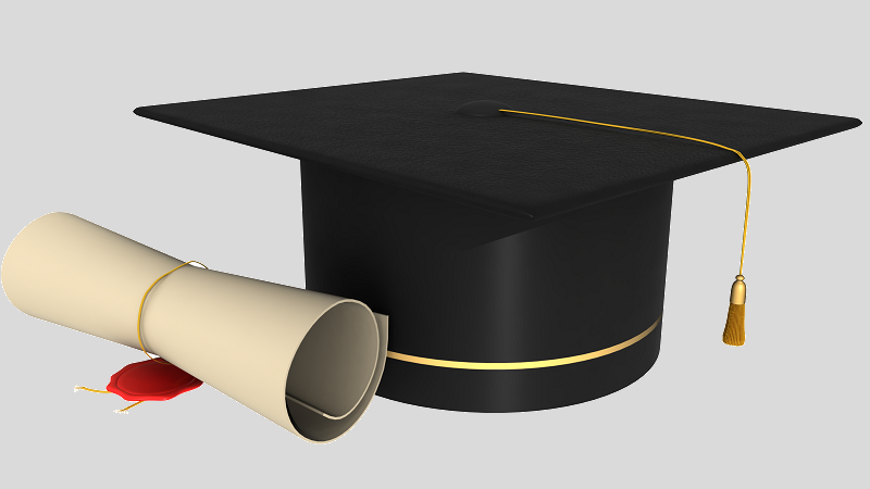 An illustration of a degree certificate and mortar board