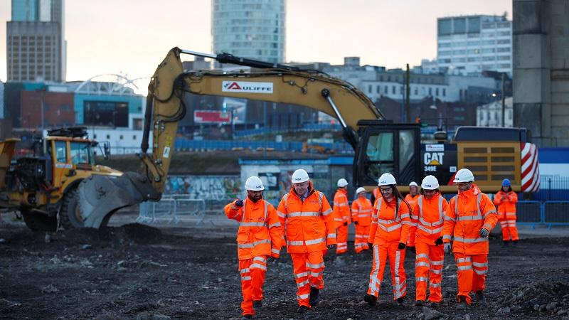 An image of prime minister Boris Johnson visiting HS2 workers in Birmingham