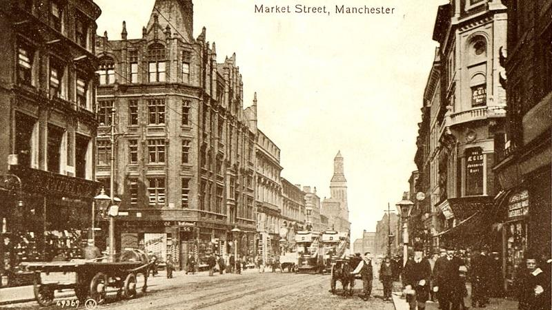 Market Street in Manchester as depicted in a postcard dating from the early 20th century