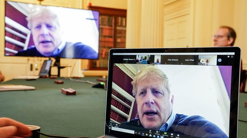Boris Johnson chairs a morning COVID-19 update meeting remotely during his self-isolation after testing positive for COVID-19 PA
